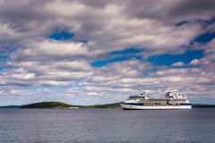 cruise ship in frenchman bay, seen from bar harbor, maine. - stock photo