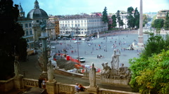 Piazza del Popolo is a large urban square in Rome. Stock Footage