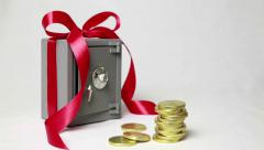 Best gift is a Magic box! Gold coins appear by themselves! Stock Footage