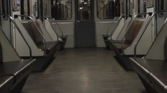 Subway, empty carriage of a train Stock Footage