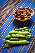 fresh raw fava beans - stock photo