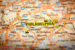 Philadelphia, city on a road map Stock Photos
