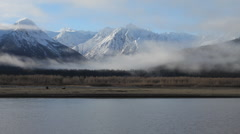 Storm Passing over the Chilkat River and Chilkat Mountains, Alaska - stock footage