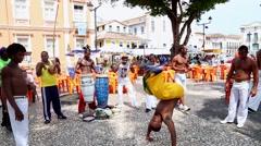 Capoeira Performance in Pelourinho -Centre of Salvador, Brazil Stock Footage
