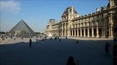 Louvre Palace and Museum court yard Stock Footage