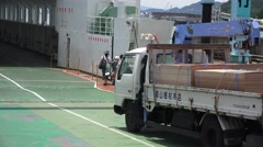 Japanese Truck With Wood Lumber Cargo Drives On Ferry Boat Naoshima Japan 4K Stock Footage