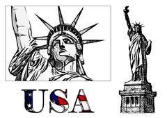 Freedom statue illustration Stock Illustration