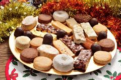 turron, polvorones and mantecados, typical christmas confections in spain - stock photo