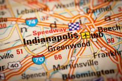 indianapolis city on a road map - stock photo