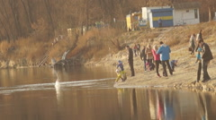 people, river bank - stock footage