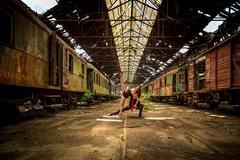 Beautiful couple of professional artists dancing - stock photo