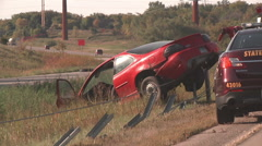 Highway Car Crash Cable Median Barrier Stock Footage