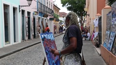 Artist Painting on Historic Centre (also known as Pelourinho) Stock Footage