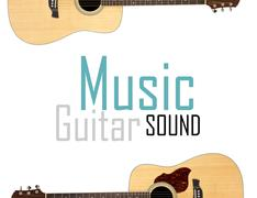 Acoustic guitar isolated over white background Stock Photos