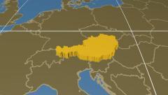 Austria extruded. Solids. Graticule. Stock Footage