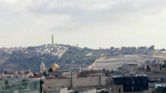 Mount of Olives and  old city Walls  early morning . Jerusalem. Stock Footage