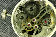 4K. Complex movement of a modern wind-up watch, Ultra HD, 4096x2730 Stock Footage