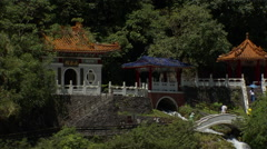 Eternal Spring Shrine. A temple with a cascade in a mountain, Taiwan Stock Footage