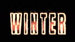 Winter. effect plasma. word on fire. A Luma Matte (Alpha Channel) is Included. Stock Footage