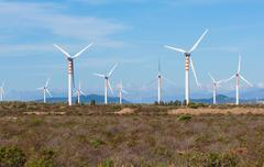 Wind turbines in the country Stock Photos