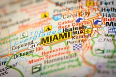 miami city on a road map - stock photo
