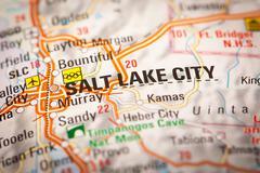 Salt lake city on a road map Stock Photos