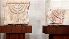 Menorah on the limestone bloke.6 century AD  Jerusalem Stock Footage
