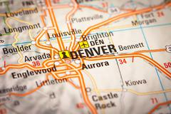 denver city on a road map - stock photo