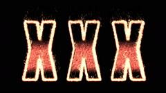 xxx. effect plasma. word on fire. A Luma Matte (Alpha Channel) is Included. - stock footage