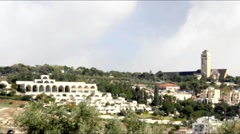 Mormon University, Mt. Scopus and Lutheran complex Augusta Victoria on the Mount Stock Footage