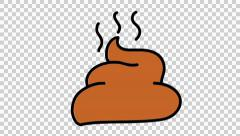 poop 3 animation with transparent background - stock footage