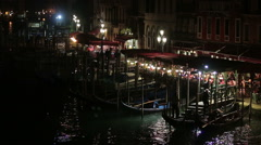 Grand Canal view at night, Venice - Italy Stock Footage
