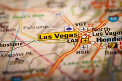 Las vegas city on a road map Stock Photos