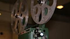 Film Projector Projecting 16mm Movie Rack Focus Stock Footage