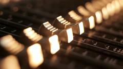 Automatic motorized mixer volume faders Stock Footage