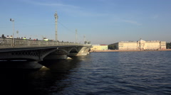 Blagoveshchensky drawbridge. Saint-Petersburg. 4K. Stock Footage