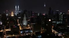 Petronas night view Kuala-Lumpur Stock Footage