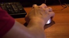 Female hand on computer mouse. 4K. Stock Footage