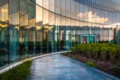 Sunset reflections in glass at revel hotel casino, in atlantic city Kuvituskuvat