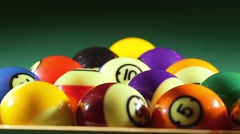 Pool balls on billiards game table Stock Footage
