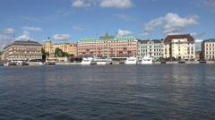 Grand Hotel and harbour, Stockholm Stock Footage
