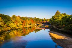 The saco river covered bridge in conway, new hampshire. Stock Photos