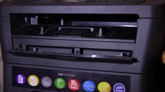 The printer prints the documents. 4K. Stock Footage