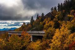 autumn view of linn cove viaduct, on the blue ridge parkway, north carolina. - stock photo
