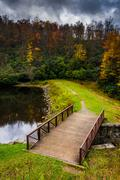 Bridge and pond at julian price park, on the blue ridge parkway in north caro Stock Photos