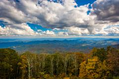 view of autumn color from the blue ridge parkway, near blowing rock, north ca - stock photo