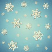 Aged card with snowflakes Stock Illustration