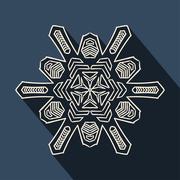 Long shadow filigree snowflake icon - stock illustration