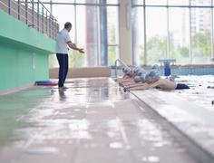 Group of happy kids children at swimming pool Kuvituskuvat
