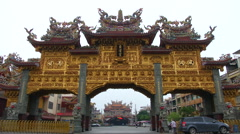Stock Video Footage of Giant pailou of the Donglong Temple